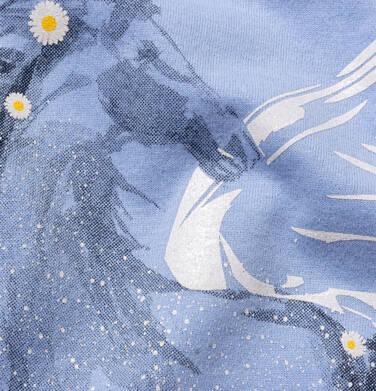 Endo - T-shirt z krótkim rękawem i wyciętymi ramionami dla dziewczynki, z pegazem, niebieski, 9-13 lat D05G002_1,3