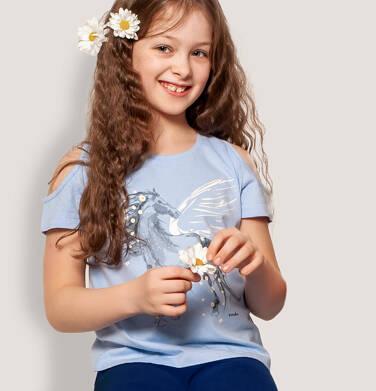 Endo - T-shirt z krótkim rękawem i wyciętymi ramionami dla dziewczynki, z pegazem, niebieski, 9-13 lat D05G002_1,2