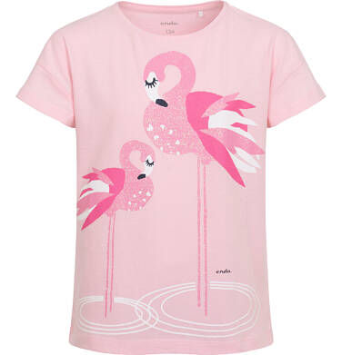 Endo - T-shirt z krótkim rękawem dla dziewczynki, z flamingami, różowy, 9-13 lat D06G074_2 1