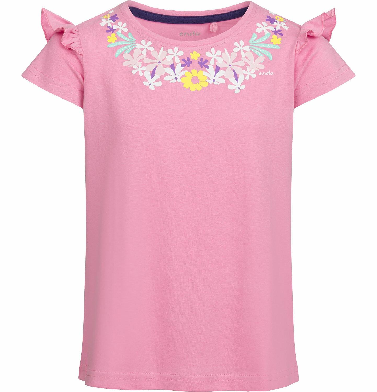 Endo - Bluzka z krótkim rękawem dla dziewczynki, z falbanką na rękawie, różowa, 2-8 lat D03G037_1