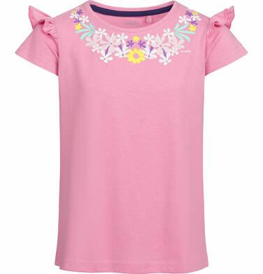 Endo - Bluzka z krótkim rękawem dla dziewczynki, z falbanką na rękawie, różowa, 2-8 lat D03G037_1 3