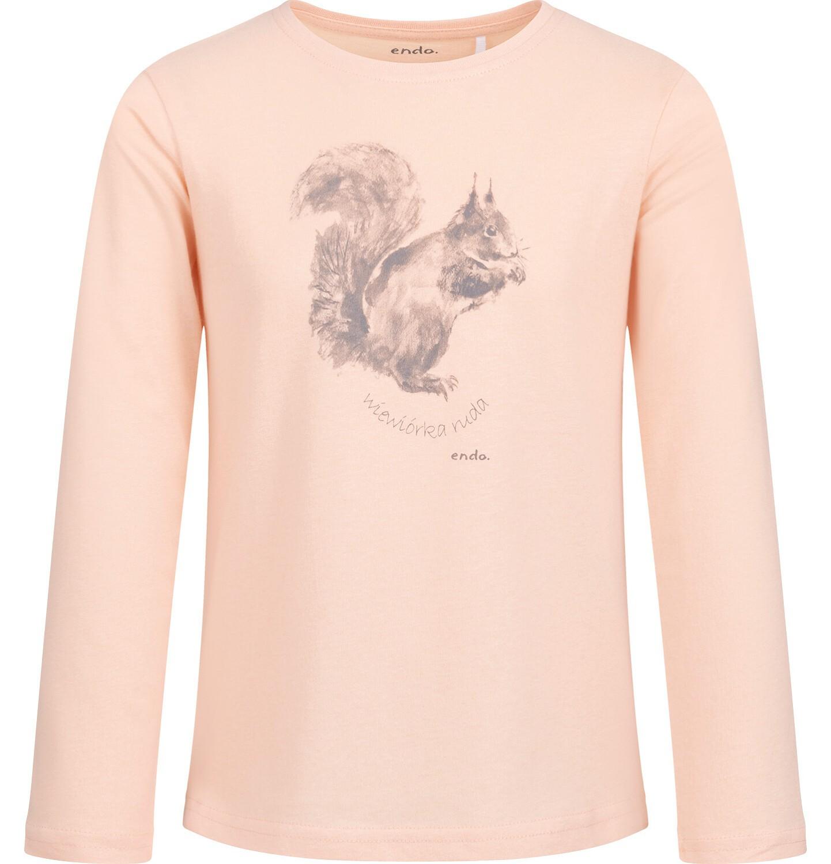 Endo - Bluzka z długim rękawem dla dziewczynki, z wiewiórką, błyszczący nadruk, 2-8 lat D04G001_1