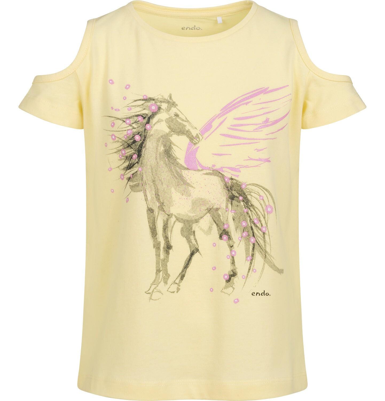 Endo - T-shirt z krótkim rękawem i wyciętymi ramionami dla dziewczynki, z pegazem, żółty, 9-13 lat D05G002_2
