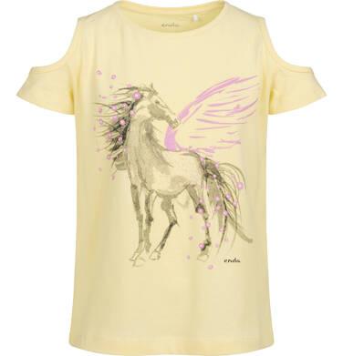 T-shirt z krótkim rękawem i wyciętymi ramionami dla dziewczynki, z pegazem, żółty, 9-13 lat D05G002_2