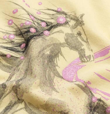 Endo - T-shirt z krótkim rękawem i wyciętymi ramionami dla dziewczynki, z pegazem, żółty, 9-13 lat D05G002_2,2