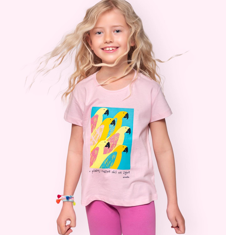 Endo - T-shirt z krótkim rękawem dla dziewczynki, z papugami, różowy, 9-13 lat D06G075_1