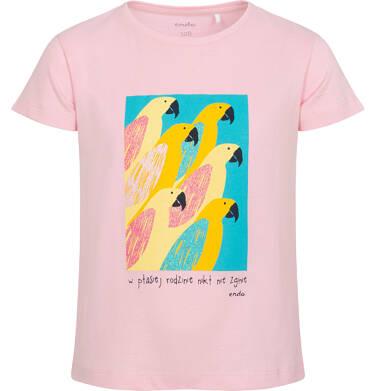 Endo - T-shirt z krótkim rękawem dla dziewczynki, z papugami, różowy, 9-13 lat D06G075_1 15
