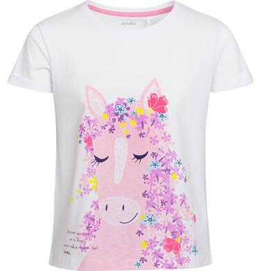 Bluzka z krótkim rękawem dla dziewczynki, koń z kwiecistą grzywą, biała, 2-8 lat D03G040_1