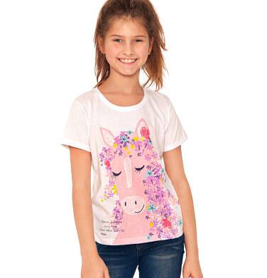 Endo - Bluzka z krótkim rękawem dla dziewczynki, koń z kwiecistą grzywą, biała, 2-8 lat D03G040_1