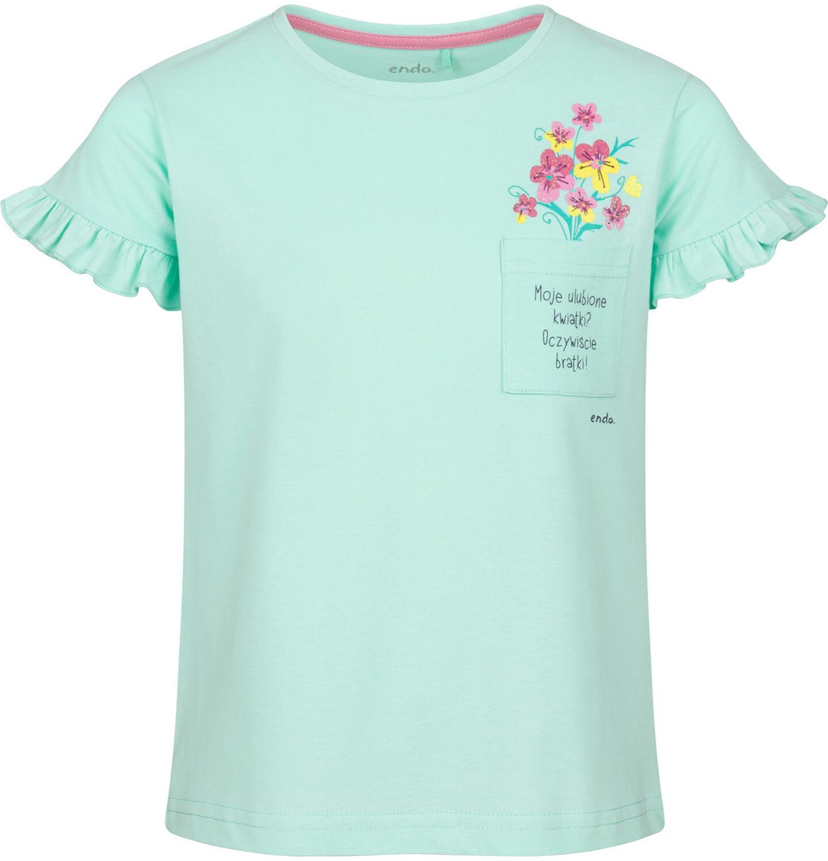 Endo - Bluzka z krótkim rękawem dla dziewczynki, z kieszonką, miętowa, 9-13 lat D03G610_1