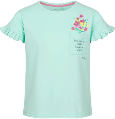 Endo - Bluzka z krótkim rękawem dla dziewczynki, z kieszonką, miętowa, 9-13 lat D03G610_1 217
