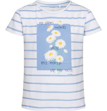 Endo - T-shirt z krótkim rękawem dla dziewczynki, w stokrotki, biały w paski, 9-13 lat D05G013_1 28
