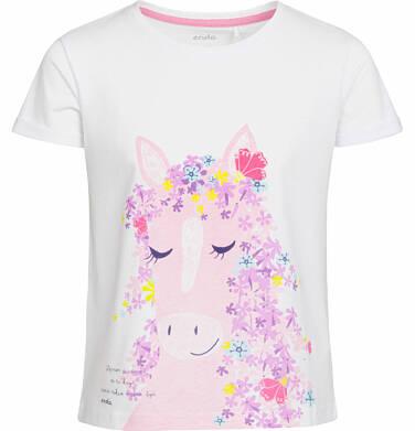 Endo - Bluzka z krótkim rękawem dla dziewczynki, koń z kwiecistą grzywą, biała, 9-13 lat D03G540_1