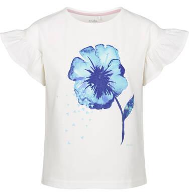 Endo - Bluzka z krótkim rękawem dla dziewczynki, z kwiatem, porcelanowa, 2-8 lat D03G123_1 197