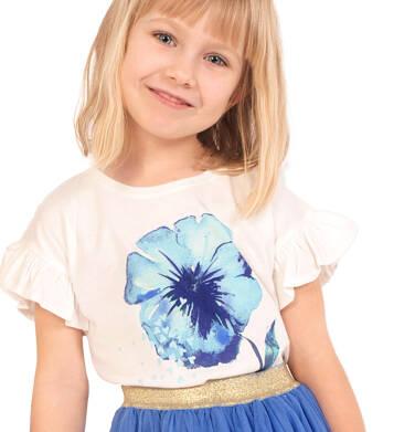 Bluzka z krótkim rękawem dla dziewczynki, z kwiatem, porcelanowa, 2-8 lat D03G123_1