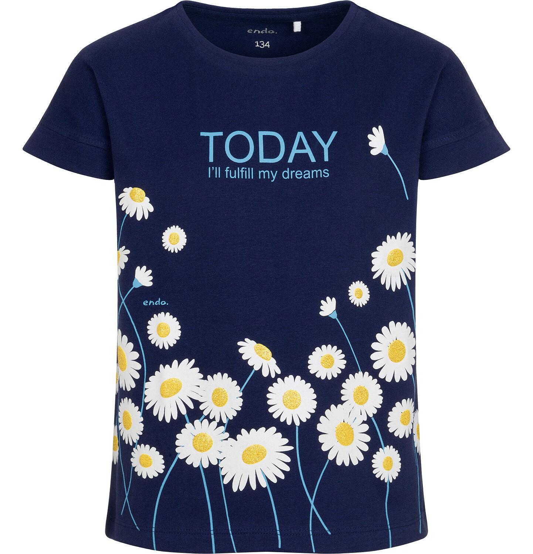 Endo - T-shirt z krótkim rękawem dla dziewczynki, w stokrotki, granatowy, 9-13 lat D05G019_1
