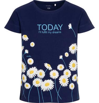 Endo - T-shirt z krótkim rękawem dla dziewczynki, w stokrotki, granatowy, 9-13 lat D05G019_1 18