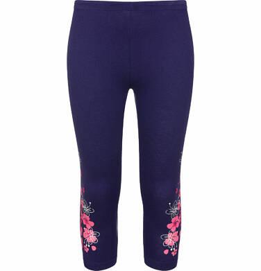 Endo - Legginsy 3/4 dla dziewczynki, z kwiatami po bokach, różowe, 2-8 lat D03K010_1