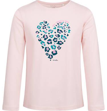 Endo - Bluzka z długim rękawem dla dziewczynki, z sercem, 2-8 lat D04G014_1,1