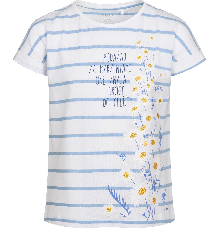 Endo - T-shirt z krótkim rękawem dla dziewczynki, w stokrotki, biały w paski, 9-13 lat D05G021_1