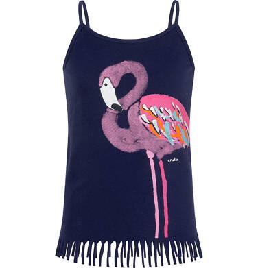 Endo - Top na ramiączkach, z flamingiem, z frędzlami na dole, granatowy, 9-13 lat D06G081_1 34