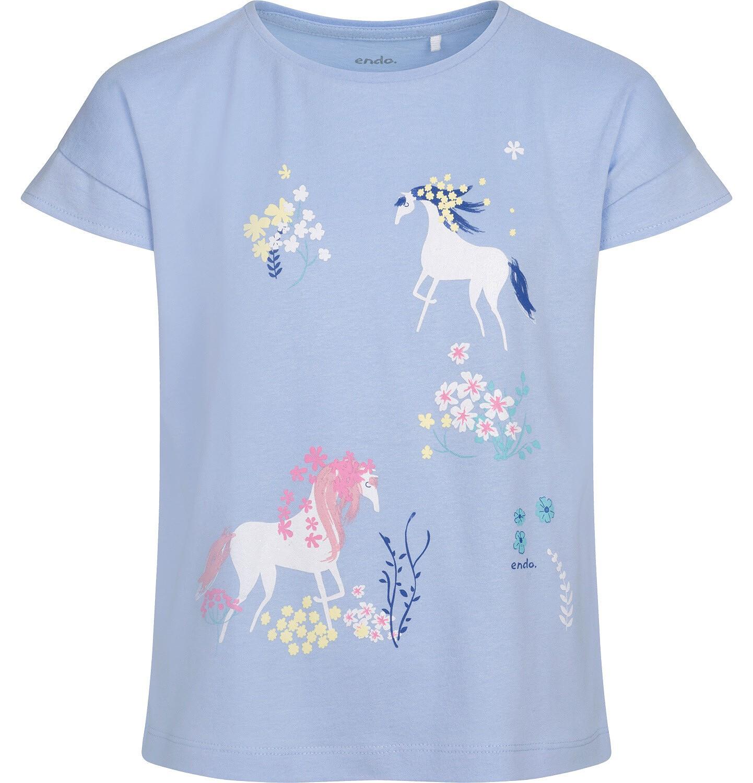 Endo - T-shirt z krótkim rękawem dla dziewczynki, w jendorożce, niebieski, 2-8 lat D05G055_1