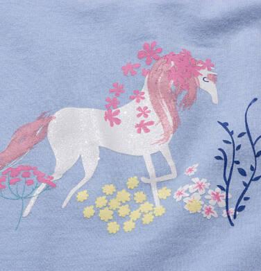 Endo - T-shirt z krótkim rękawem dla dziewczynki, w jendorożce, niebieski, 2-8 lat D05G055_1,2