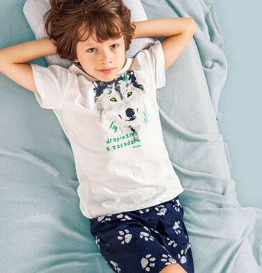 Piżama z krótkim rękawem, z wilkiem, kremowa, 9-13 lat C05V023_1