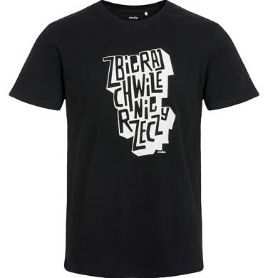Endo - T-shirt męski, z napisem, czarny Q03G008_1 28