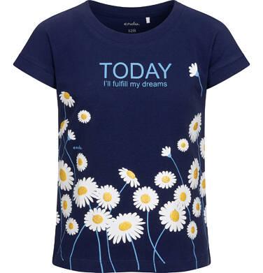 Endo - T-shirt z krótkim rękawem dla dziewczynki, w stokrotki, granatowy, 2-8 lat D05G056_1 24