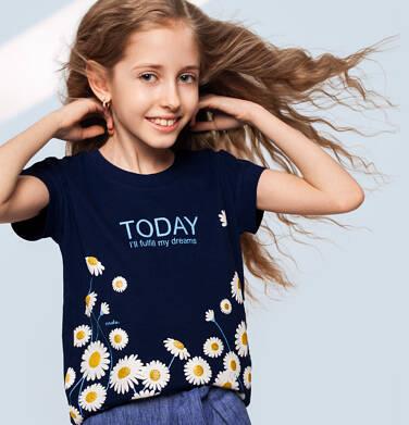 Endo - T-shirt z krótkim rękawem dla dziewczynki, w stokrotki, granatowy, 2-8 lat D05G056_1 5