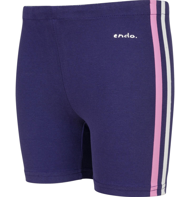 Endo - Krótkie legginsy dla dziewczynki, z paskami po bokach, granatowe, 2-8 lat D03K013_1