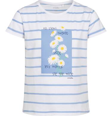 Endo - T-shirt z krótkim rękawem dla dziewczynki, w stokrotki, biały w paski, 2-8 lat D05G062_1 23