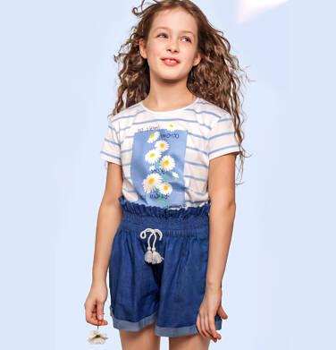 T-shirt z krótkim rękawem dla dziewczynki, w stokrotki, biały w paski, 2-8 lat D05G062_1