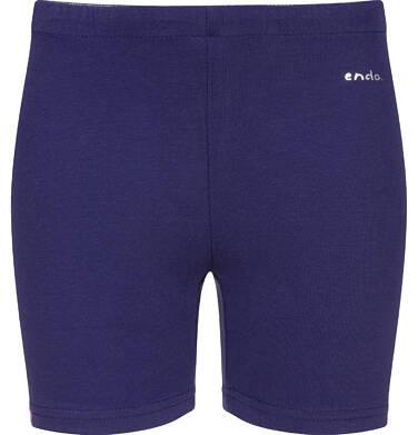Endo - Krótkie legginsy dla dziewczynki, z paskami po bokach, granatowe, 2-8 lat D03K513_1 114
