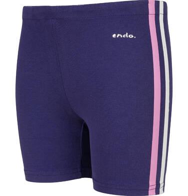 Endo - Krótkie legginsy dla dziewczynki, z paskami po bokach, granatowe, 2-8 lat D03K513_1,2