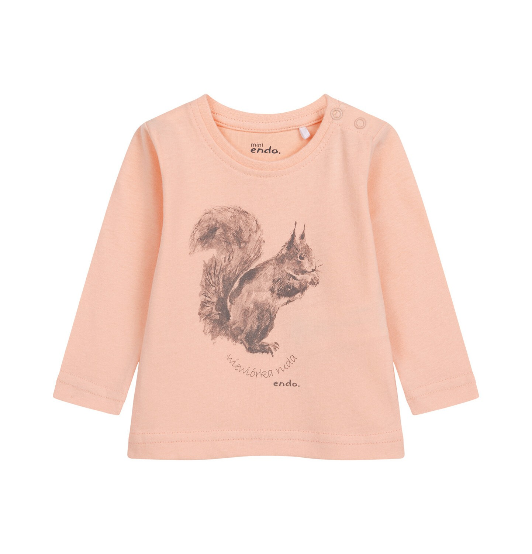 Endo - Bluzka z długim rękawem dla dziecka do 2 lat, morelowa N04G016_1