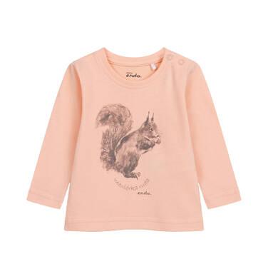 Bluzka z długim rękawem dla dziecka do 2 lat, morelowa N04G016_1