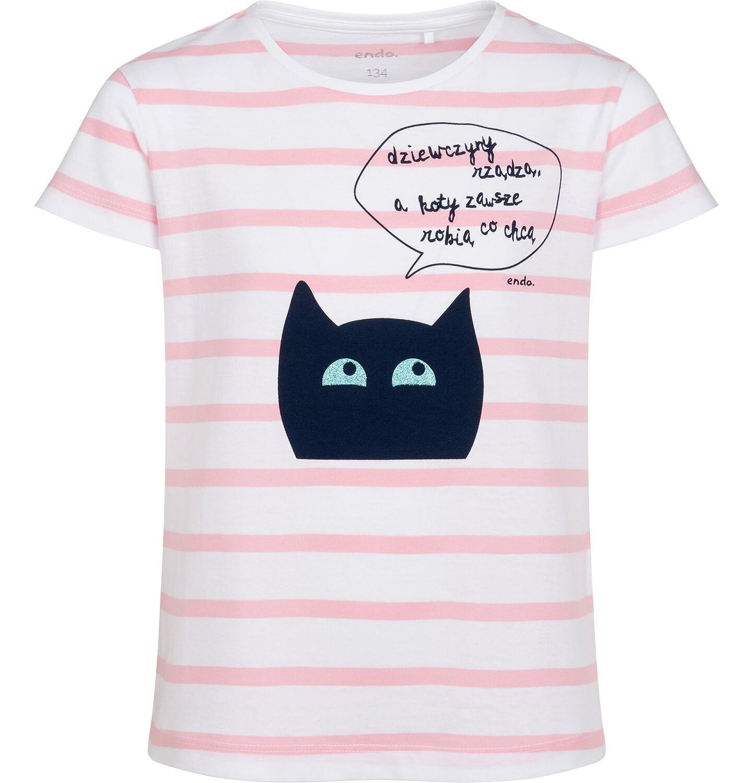 Endo - T-shirt z krótkim rękawem dla dziewczynki, z kotem, biały w paski, 9-13 lat D05G083_1