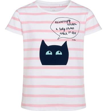 Endo - T-shirt z krótkim rękawem dla dziewczynki, z kotem, biały w paski, 9-13 lat D05G083_1 26