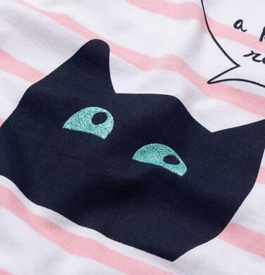 Endo - T-shirt z krótkim rękawem dla dziewczynki, z kotem, biały w paski, 9-13 lat D05G083_1,2