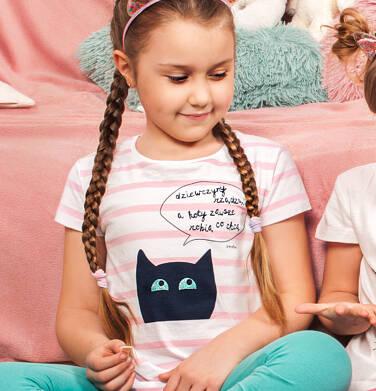 Endo - T-shirt z krótkim rękawem dla dziewczynki, z kotem, biały w paski, 9-13 lat D05G083_1 15