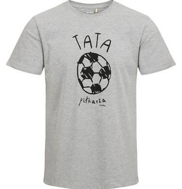T-shirt męski, z piłką, szary Q03G012_1