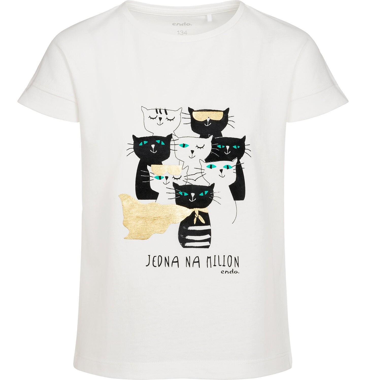 Endo - T-shirt z krótkim rękawem dla dziewczynki, w koty, kremowy, 9-13 lat D05G086_1