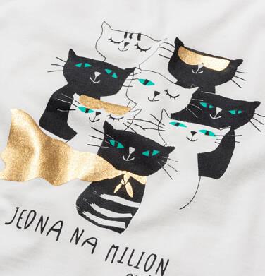 Endo - T-shirt z krótkim rękawem dla dziewczynki, w koty, kremowy, 9-13 lat D05G086_1,2