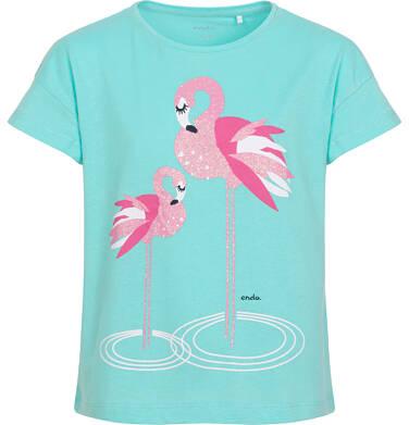Endo - T-shirt z krótkim rękawem dla dziewczynki, z flamingami, niebieski, 2-8 lat D06G089_1 7