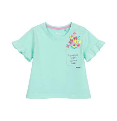 Endo - Bluzka dla dziecka do 2 lat, z kwiatami i kieszonką, miętowa N03G041_1 32