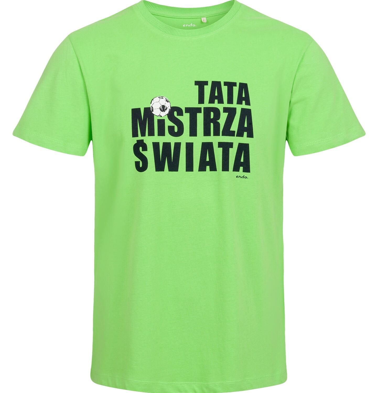 Endo - T-shirt męski, tata mistrza świata, zielony Q03G013_1