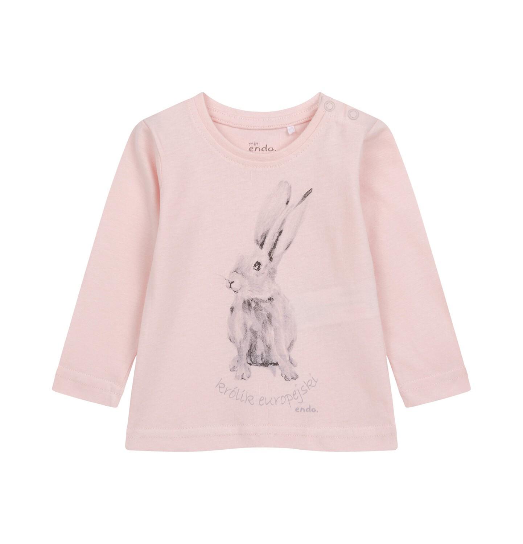 Endo - Bluzka z długim rękawem dla dziecka do 2 lat, różowa N04G018_1