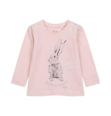 Bluzka z długim rękawem dla dziecka do 2 lat, różowa N04G018_1